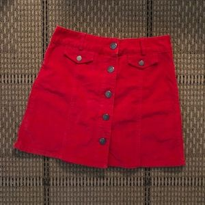 Urban Outfitter Red Corduroy Skirt